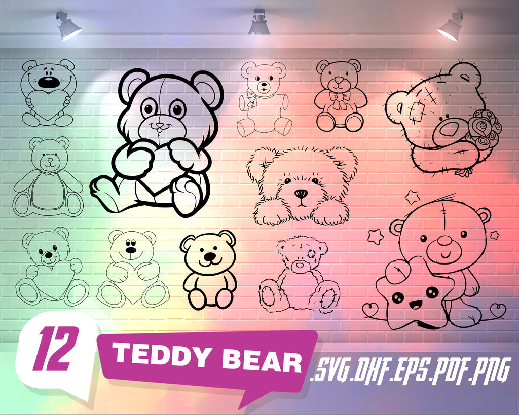 Teddy Bear SVG Bundle, Teddy Bear SVG, Teddy Bear Clipart, Cut Files For Silhouette, Files for Cricut, Vector, Svg, Dxf, Png, Eps, Design