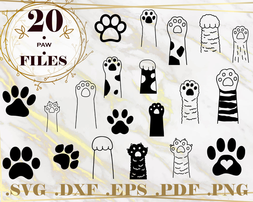 PAW SVG, paw print monogram, animals, paw vector, dog love svg, cat paw print, dog paw svg, silhouette, clipart, stencil, decal