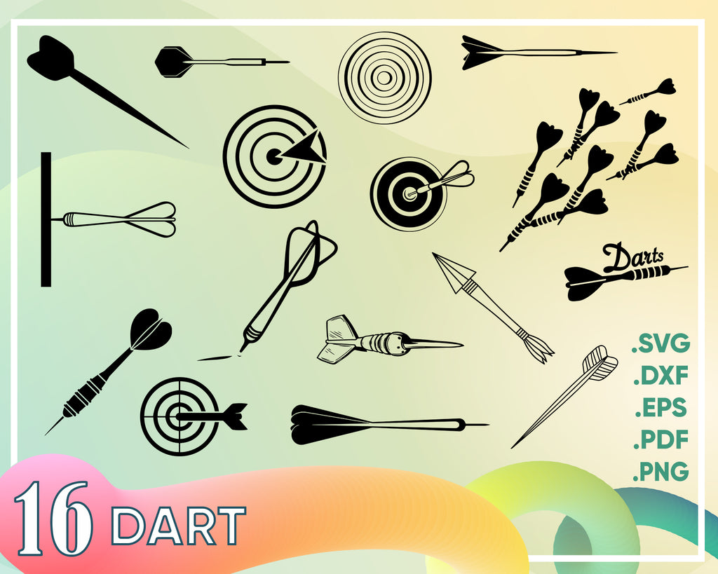 Dart svg, Dart Board Arrow Target game Fun shooting Bar games Digital Download Cut File SVG DXF Vector Commercial use