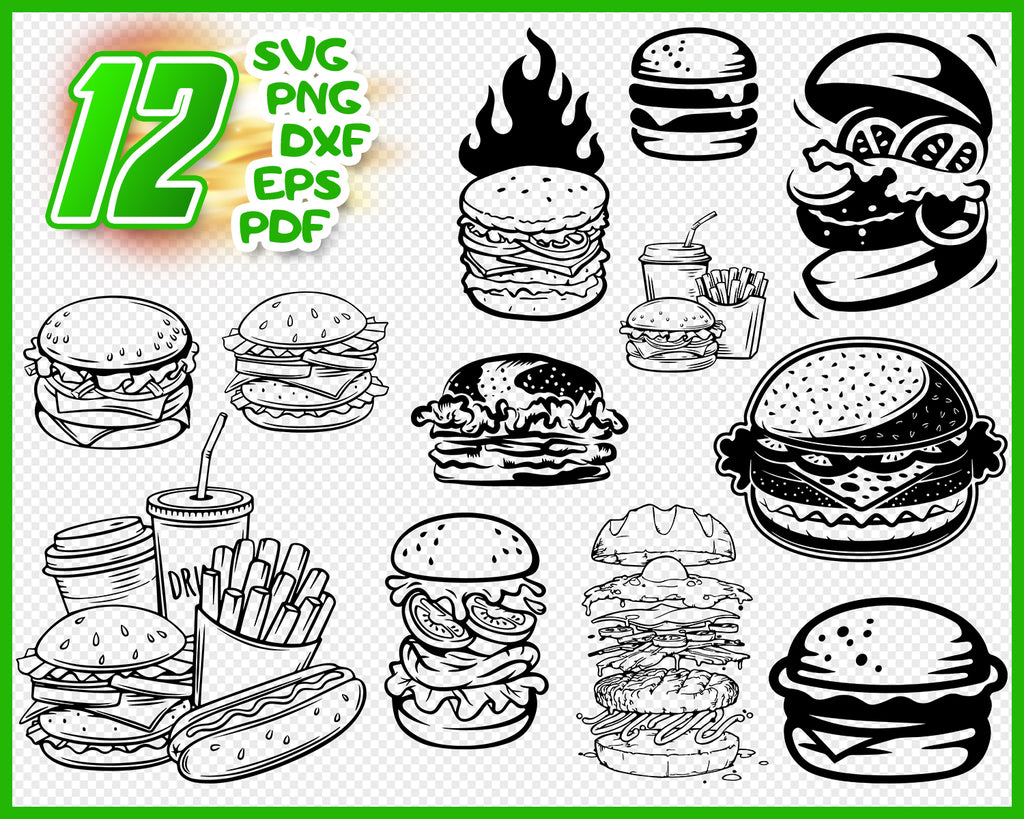 Burger svg, hamburger svg, fast food svg, cheeseburger svg, food svg, clipart, decal, stencil, silhouette, png, cut file, iron on