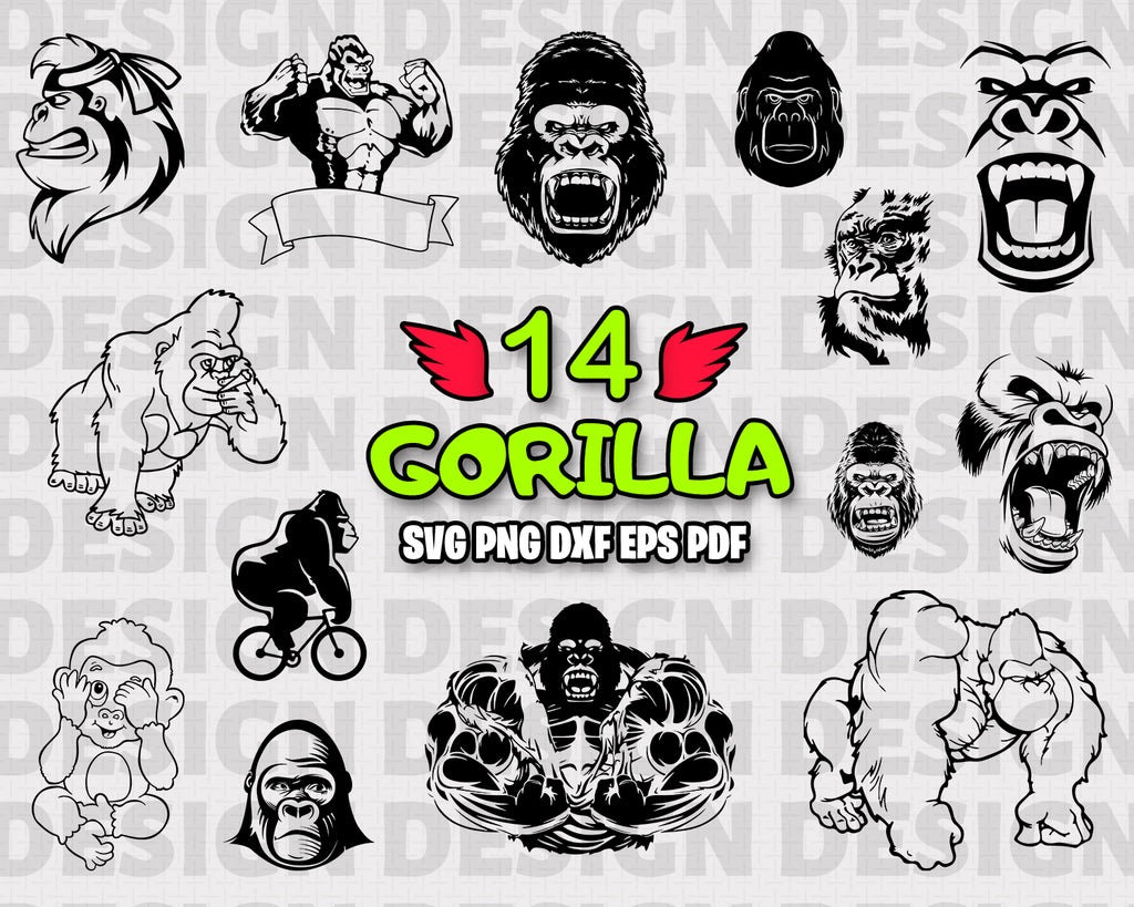 GORILLA SVG, GORILLAS SVG, gorilla Silhouette, Ape svg, Monkey Svg, gorilla head svg, king kong svg, gorilla vector, GORILLAS clipart, gorillas svg Bundle stencil, Animals, Vinyl, Instant Download