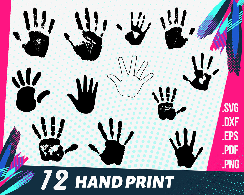 Hand print svg, Hand print SVG BUNDLE / Handprint cricut / Hands silhouette / Palm cut file / Fingers vector / Hand print download / Hand Print clipart