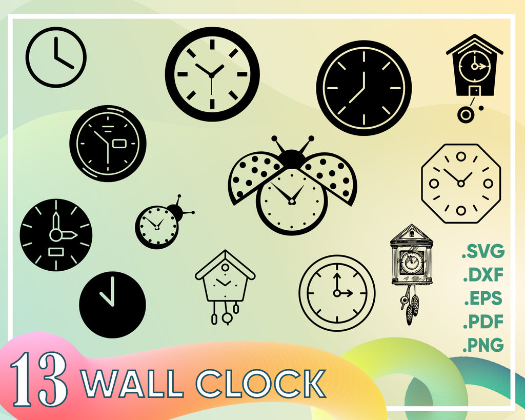 Wall clock svg, Clock SVG Bundle, Watch SVG, Clock Clipart, Cut Files For Silhouette, Files for Cricut, Vector, Time Svg, Wall Clock Svg, Dxf, Png, Design