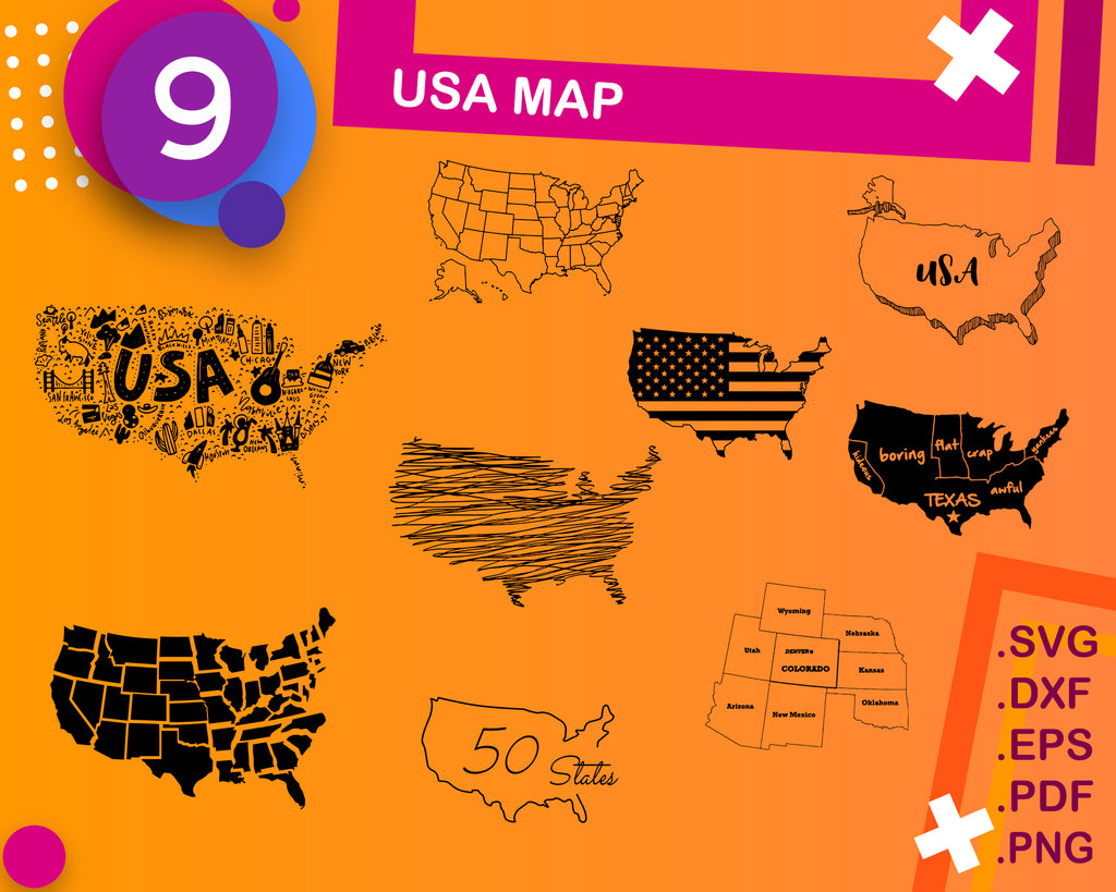 USA MAP svg, usa state svg, svg cutting files, silhouette svg, 50 states svg, map svg, america svg, svg file, dxf, png, decal, vinyl, print