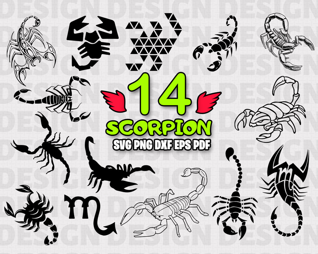 Scorpion SVG, Scorpion Clipart, Scorpion Files for Cricut, Scorpion Cut Files For Silhouette, Scorpion Dxf, Png, Eps Vector, Print, Instant Download