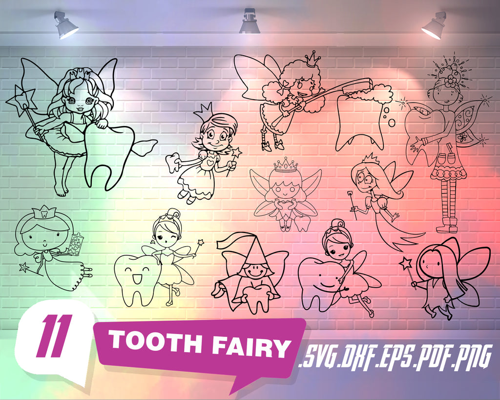 Tooth Fairy svg, Fairies svg bundle, fairy clipart png, stencil svg, fairy tooth svg, princess svg, svg files for cameo, princess clipart, fairy dxf, svg png
