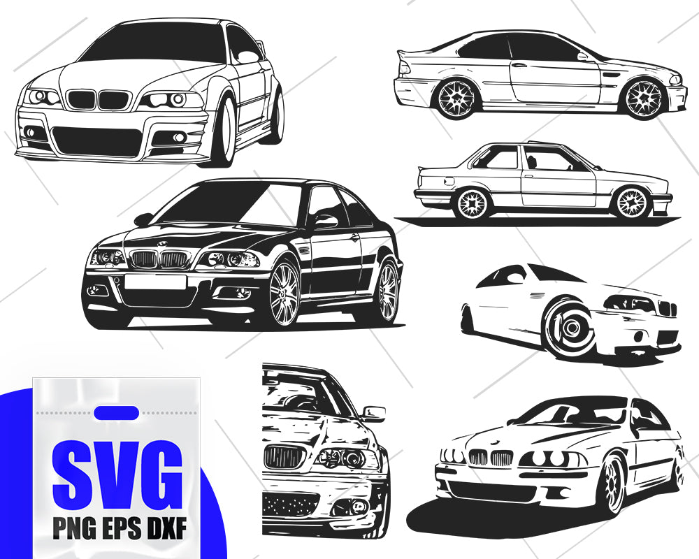 BMW e46 silhouette, car svg