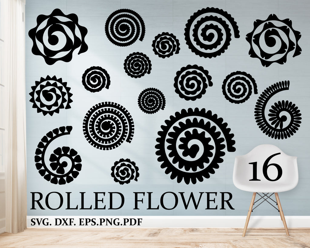 Rolled flower svg, flower silhouette origami flowers svg, rolled flower handmade, flowers svg, Rolled Paper Flowers Bundle