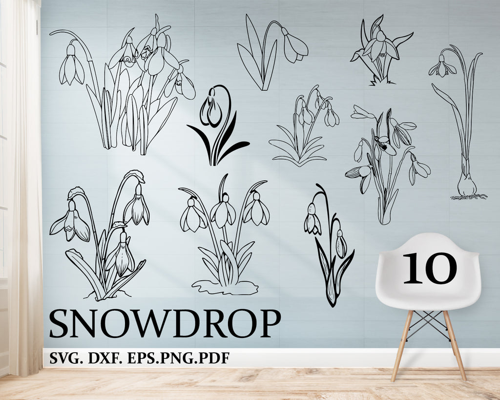 Snowdrop svg, winter, floral element flower, template, dxf png svg cut files, floral, cutting file, vinyl, template, silhouette