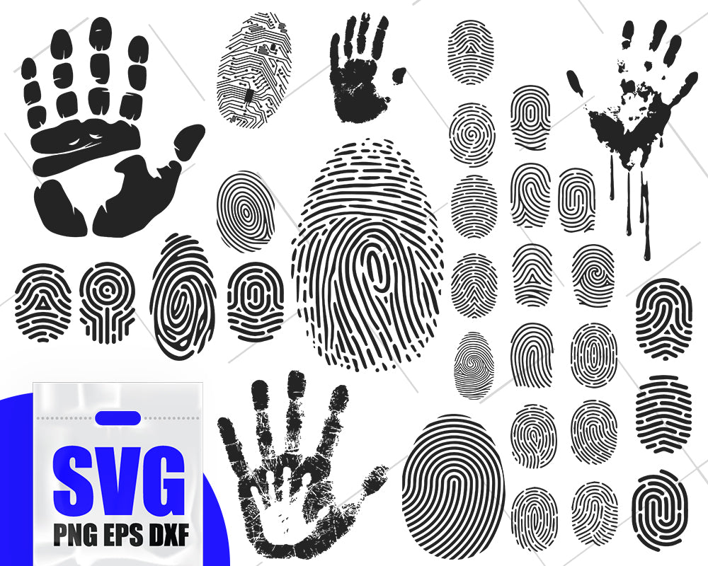 Fingerprints silhouette, fingerprint svg, fingerprint clipart, finger print svg, fingerprint cut file
