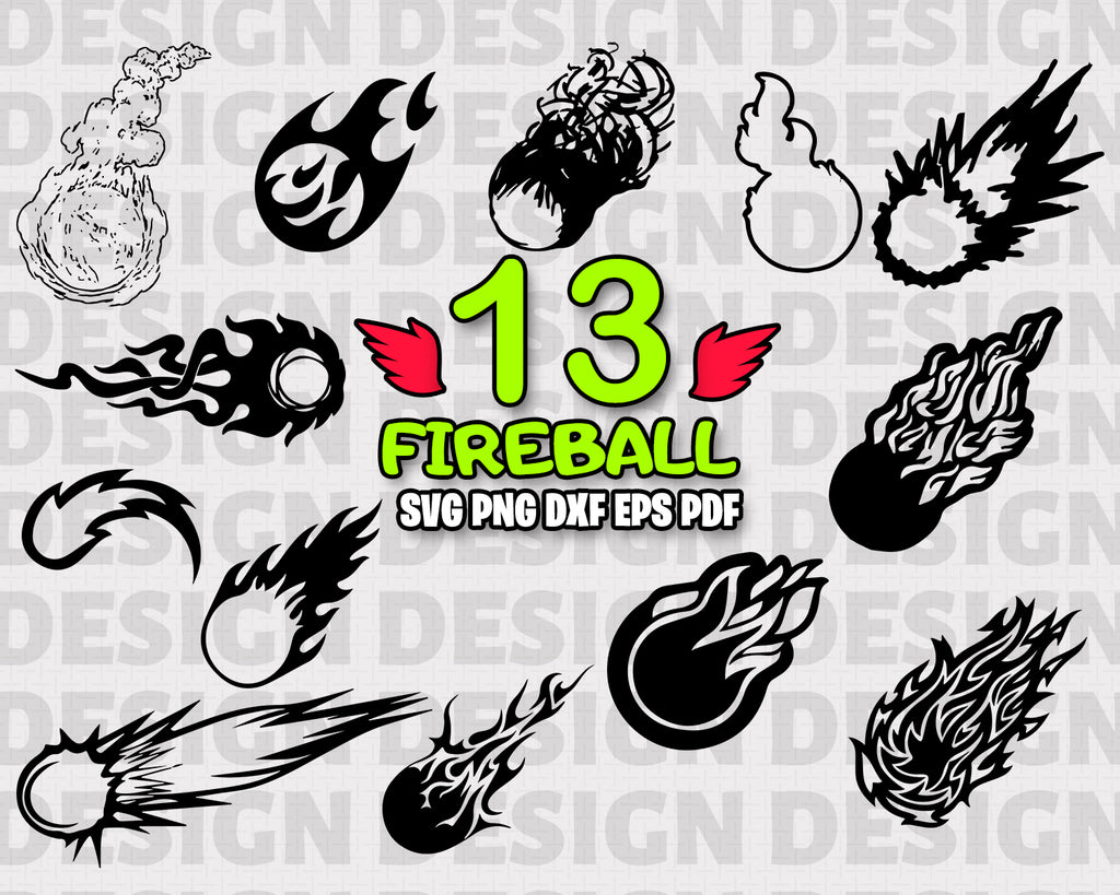FIREBALL SVG, Fireball Bundle, Fireball Vector, Fireball Clipart, Cut Files For Silhouette, Files for Cricut, Vector, Flame Svg, Dxf, Png, Eps, Vinyl Design, Instant Download