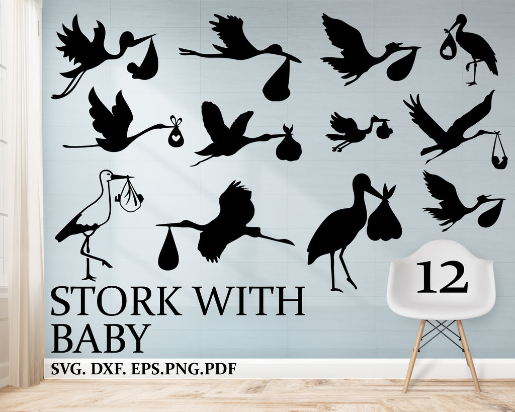 Stork with baby svg, Stork Svg, Stork, Stork Png, Stork clipart, Stork Vector, Stork with infant, Stork Charm, Svg files for cricut, Silhouette files