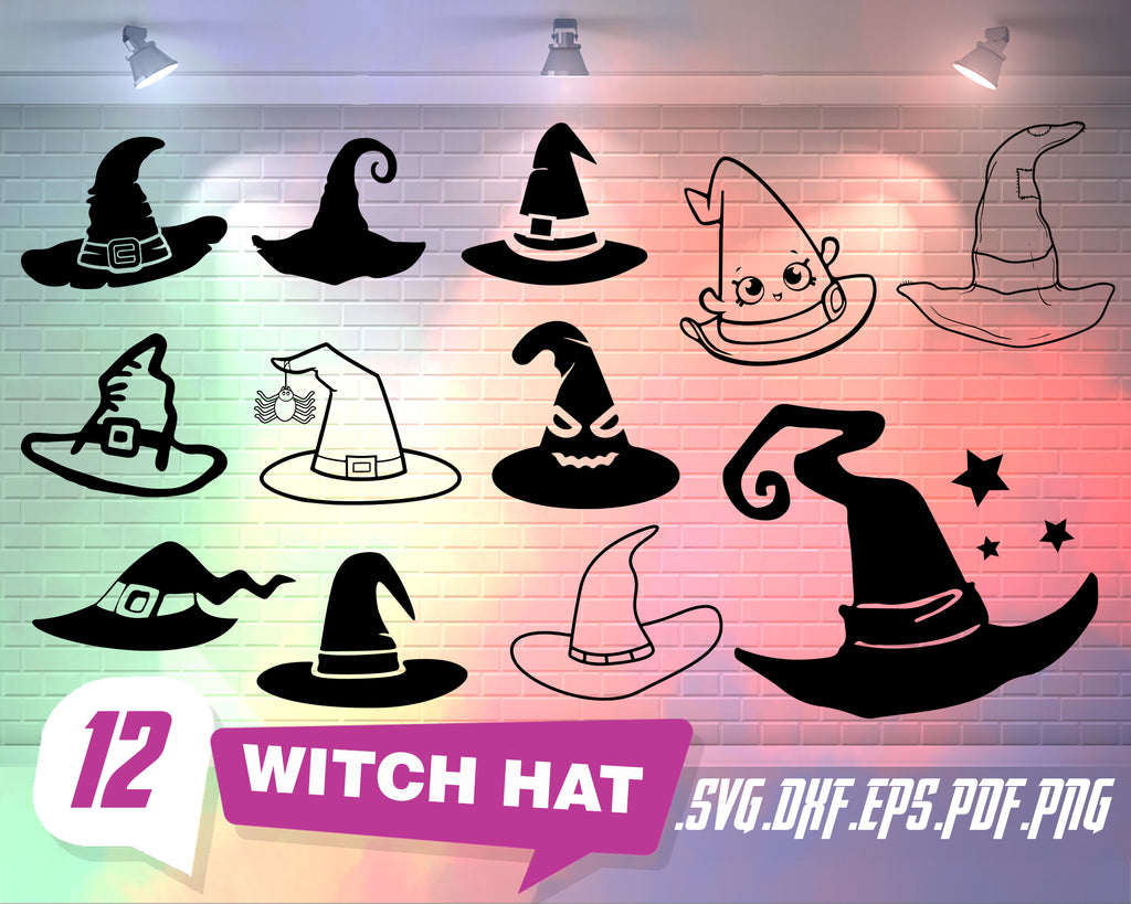 Witch Hat svg, Halloween Witch Hat SVG, Bat, Vine, Moon Witch Clipart SVG DXF Silhouette Cricut Cut Files Commercial use