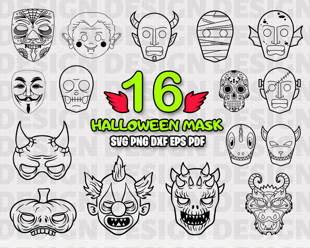 Halloween Mask SVG, Files For Cricut - Black & white Skull Vector Images - Clip Art SVG Eps, Png, dxf Stencil ClipArt Mask Silhouette, Files for Crafters