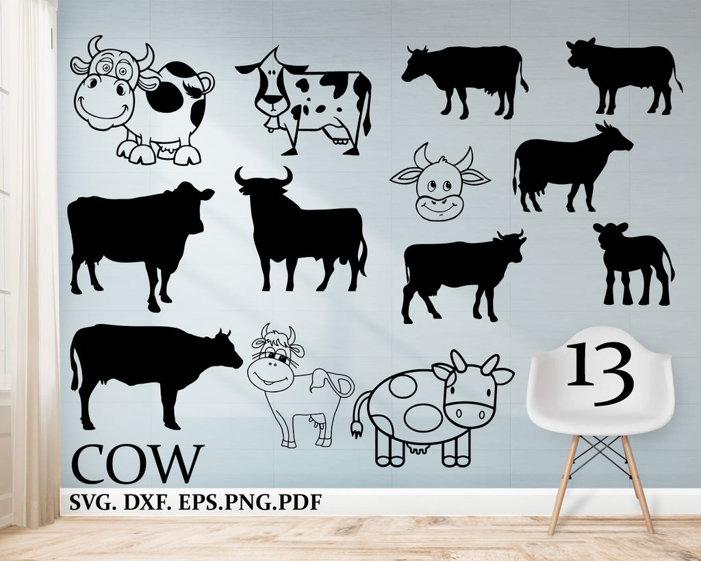 Cow svg, cattle svg, cute cow, cow head svg, bull svg, farm animal svg, clipart, stencil, vinyl cut files, iron on files, silhouette