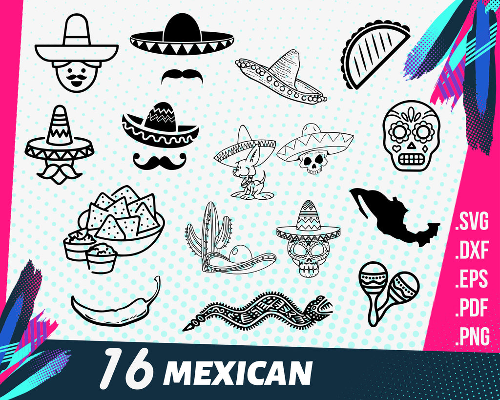 Mexican svg, Sombrero Svg, Mexican Hat Svg, Sombrero Cricut, Sombrero Cut File, Cinco de Mayo Svg, Sombrero Silhouette, Svg Cut File for Cricut, Png, Dxf