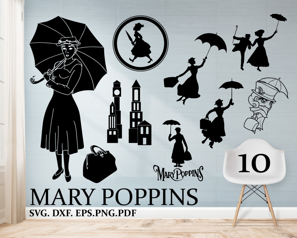 Lady SVG, DXF, Woman svg, Lady with umbrella, Nanny shirt, Nanny print shirt, magic kingdom shirt, Flying woman dxf
