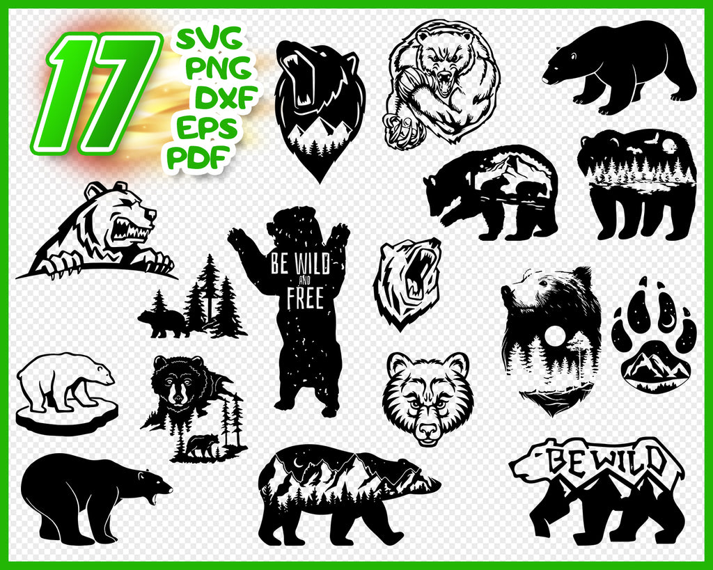 Bear SVG Cut Files - Grizzly Bear SVG Polar Bear SVG Clipart Silhouette Bear Cut File svg dxf eps png - Silhouette Cameo Cricut transfer