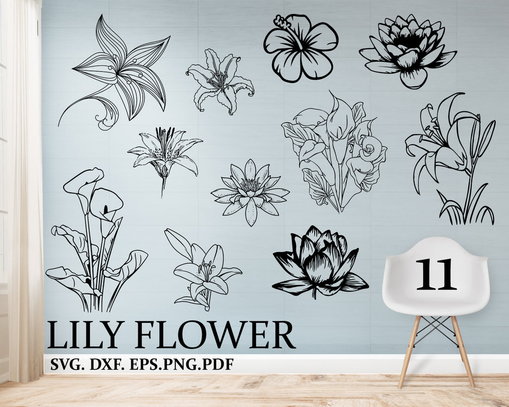 Lily flower svg, Lily svg, Flowers svg, Lily Flower, SVG, Silhouette, Cut File, Clipart, Vinyl Stickers, decals, Tribal, Tattoo, Design, Dxf, Png, Eps, Vector