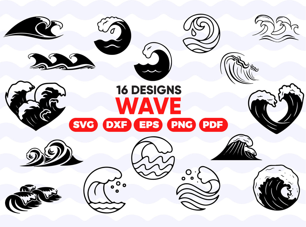 WAVE SVG, waves svg, beach svg, wave clipart, ocean svg, wave vector, wave decal, wave silhouette, silhouette svg, wave svg bundle,surf svg