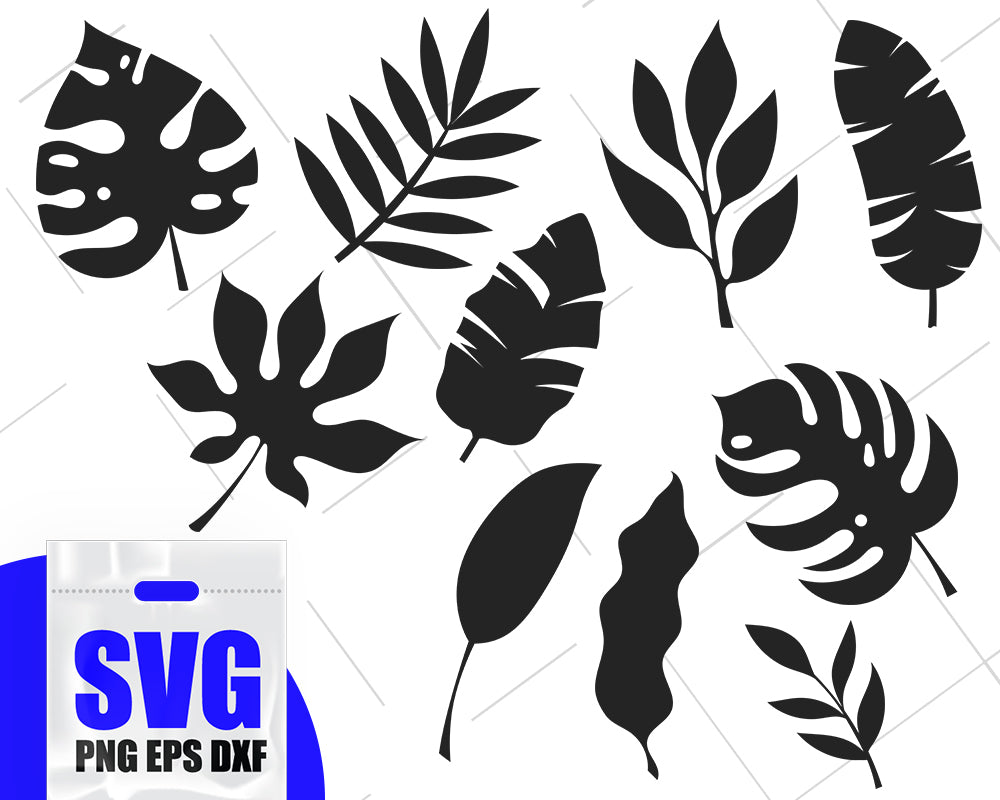 Tropical Leaves SVG Bundle, Monstera Leaf, Palm Leaf Clipart Files