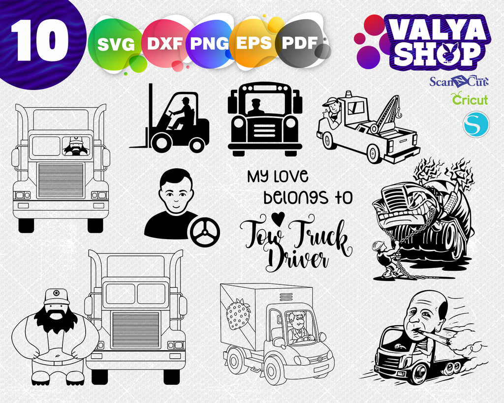 Truck Driver svg, Truck svg, 18 Wheeler svg, Trucker svg, Clipart, Cut Files For Silhouette, Files for Cricut, Vector, Dxf, Png, Eps, Design