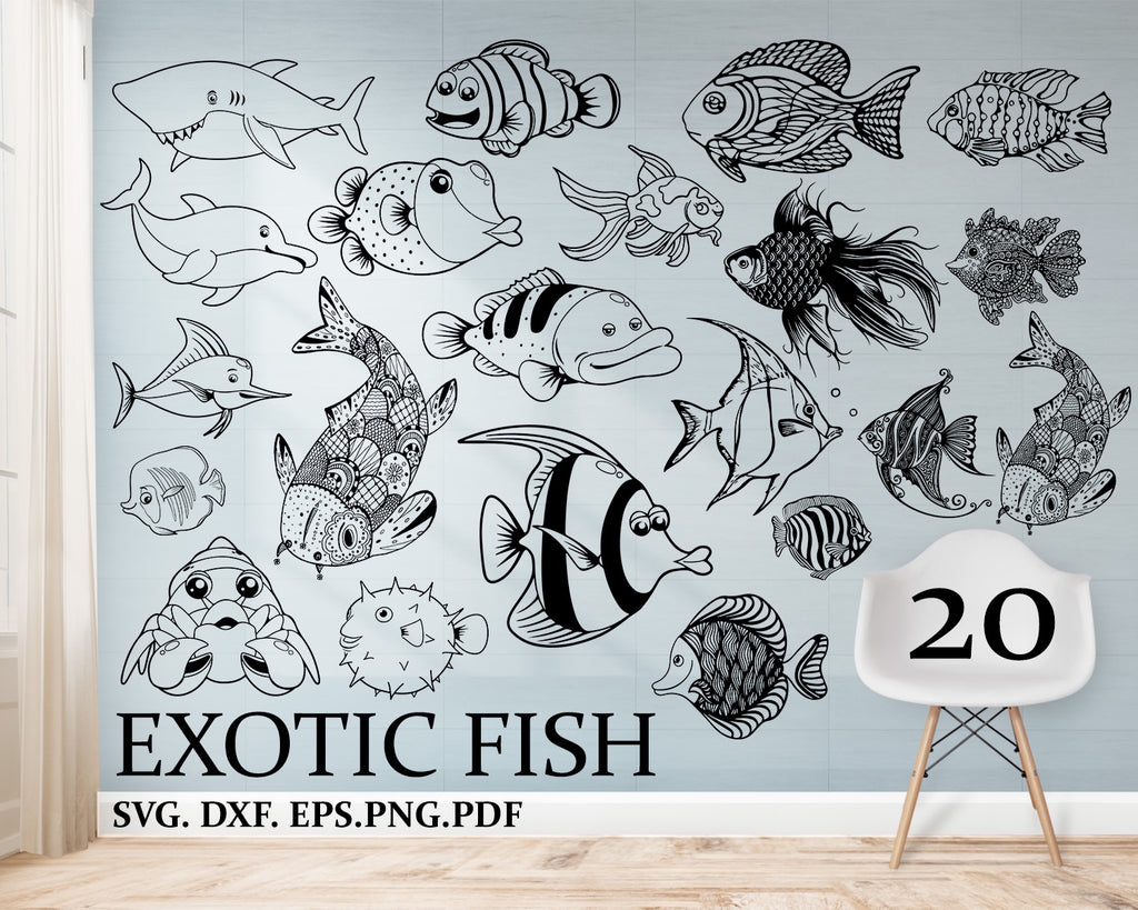 Exotic Fish svg, Animal, Aquarium, Tropical, Exotic, Logo .SVG .EPS .PNG Clipart, Vector, Cut, For Cutting