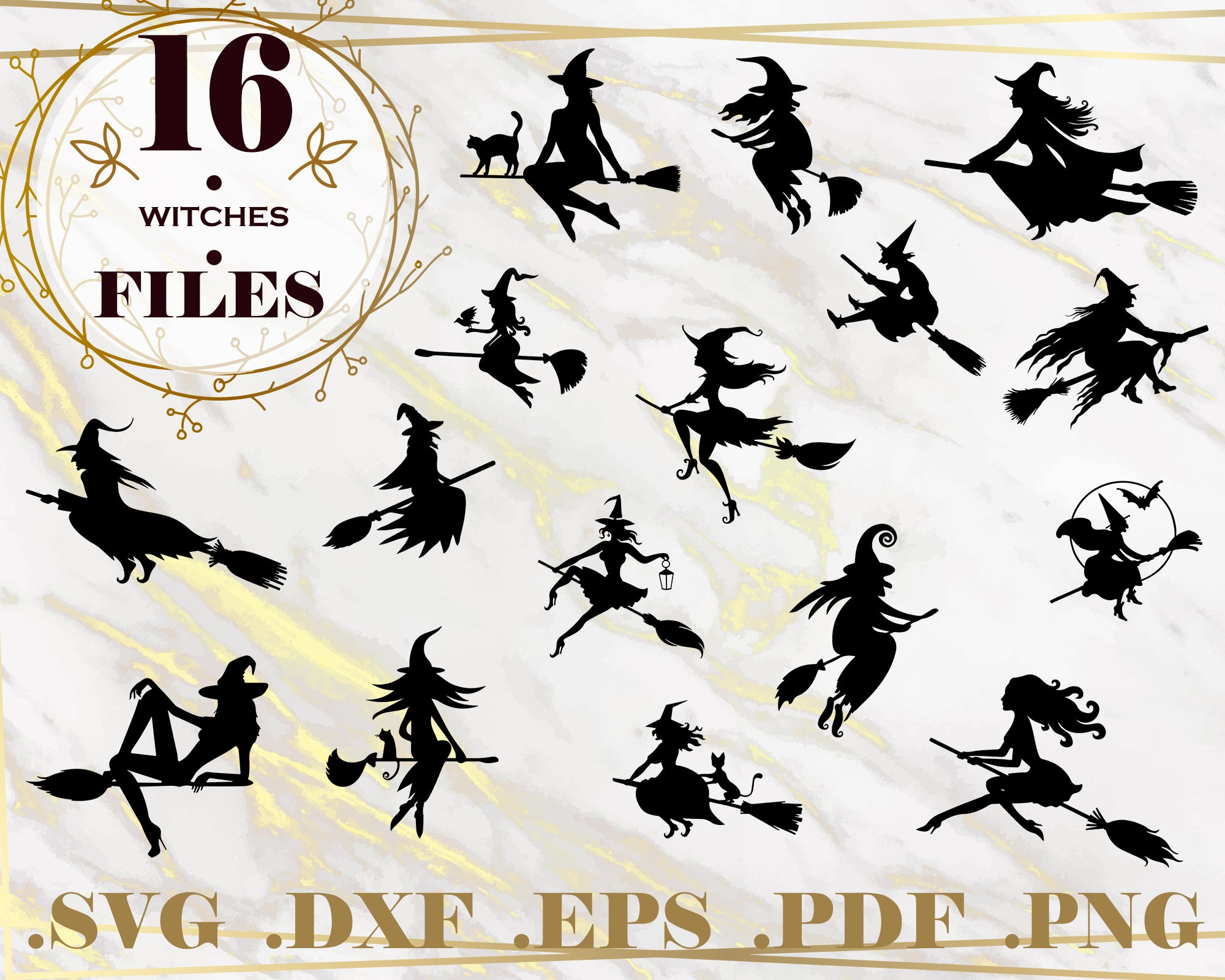 Witches Svg Halloween Svg Witch Broom Decal Silhouette Png Eps D Clipartic