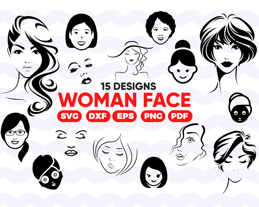 Woman face SVG, Lashes SVG, Eyelash SVG, Head, Face, Female, Hair, Fashion, Svg, Silhouette, Clipart, Cut Files, Cricut, Vector Files, png, dxf, instant download