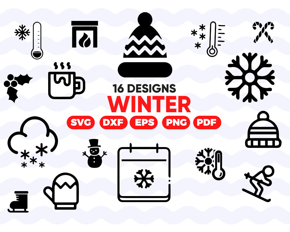 WINTER SVG, clipart, silhouette, stencil, file cricut, cut file, cutting file, vector files - .EPS .DXF .SVG .PNG .PDF, vinyl design, files for crafters, instant download