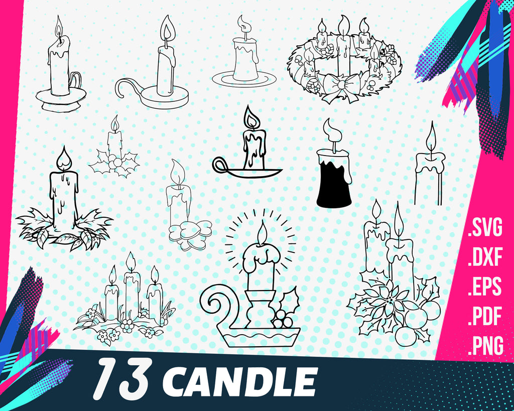 Candle SVG Bundle, Candle SVG, Candle Clipart, Candle Cut Files For Silhouette, Files for Cricut, Candle Vector, Svg, Dxf, Png, Eps, Design