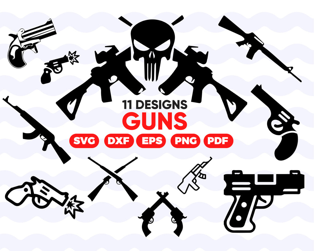 Guns SVG/ Military Weapon svg/ Pistol Svg/ Weapon svg/ clipart/ silhouette/ cut file/ cricut/ decal file/ digital file/ stencil file/ instant download