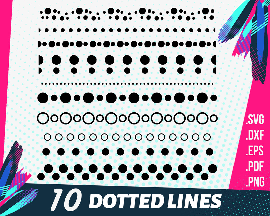 Dotted lines svg,Dotted lines svg file - dot underline - dot decor file cut file and cricut and cameo files svg, png, dxf, eps