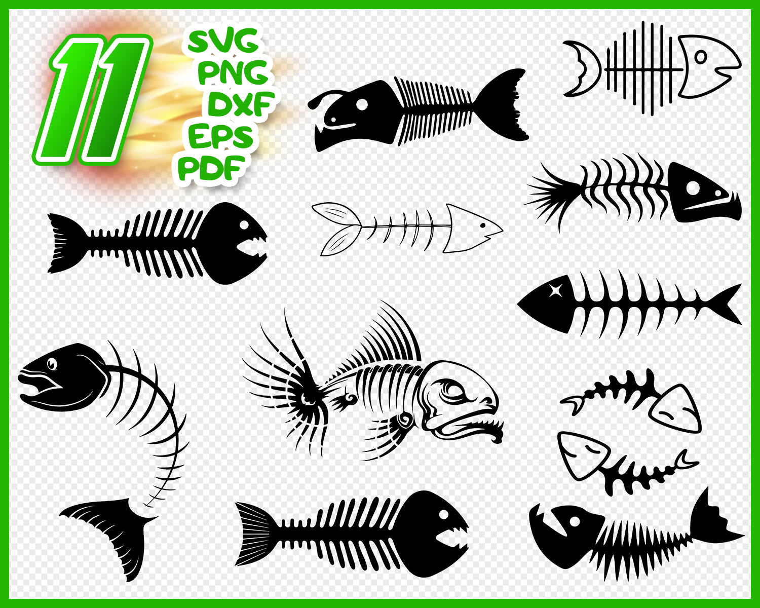 Download Angry Fish Skeleton Logo Fishing Svg Eps Png Dxf Vector Cutting Files Instant Download For Cricut Silhouette Cameo Cutter Plotter Digital Art Collectibles Vadel Com