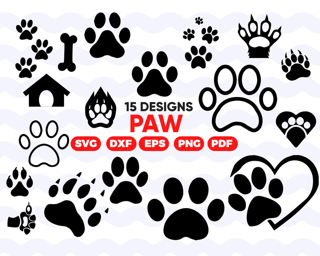 PAW PRINT SVG, paw heart svg, paw print monogram, paw vector, dog love svg, cat paw print, dog paw svg, silhouette, clipart, stencil, decal