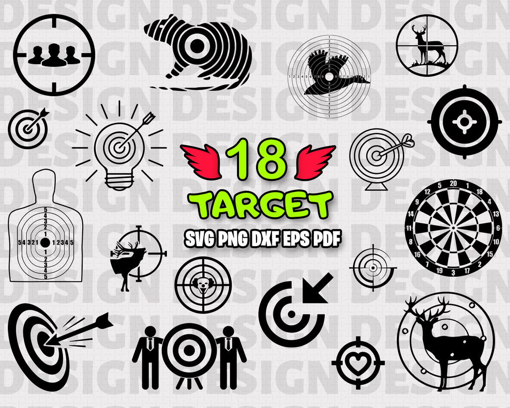 Target SVG, Target Bundle, Bullseye SVG, Target Clipart, Cut Files For Silhouette, Files for Cricut, Target Vector, Bull's Eye Svg, Dxf, Png, Vinyl Design, Instant Download