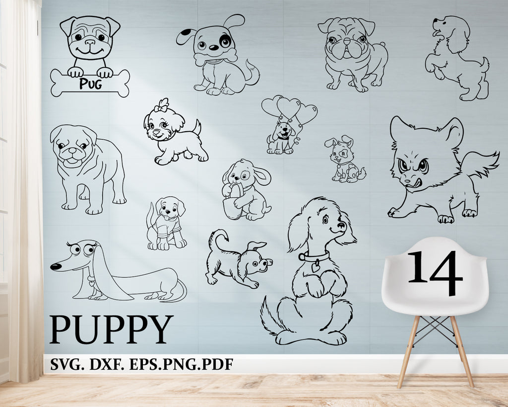 Puppy svg, Cute Puppy Vector Collection, Little Puppy SVG cutting Files, Puppy Dog images, svg, dxf, cutting files, Doggie Image