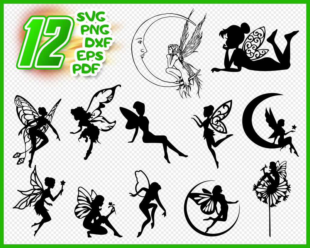 Fairy SVG Cut File - Fairy Bundle SVG - Fairy Silhouette - Fairy Clipart - Fairy Vector - Printable - Digital File - Instant Download