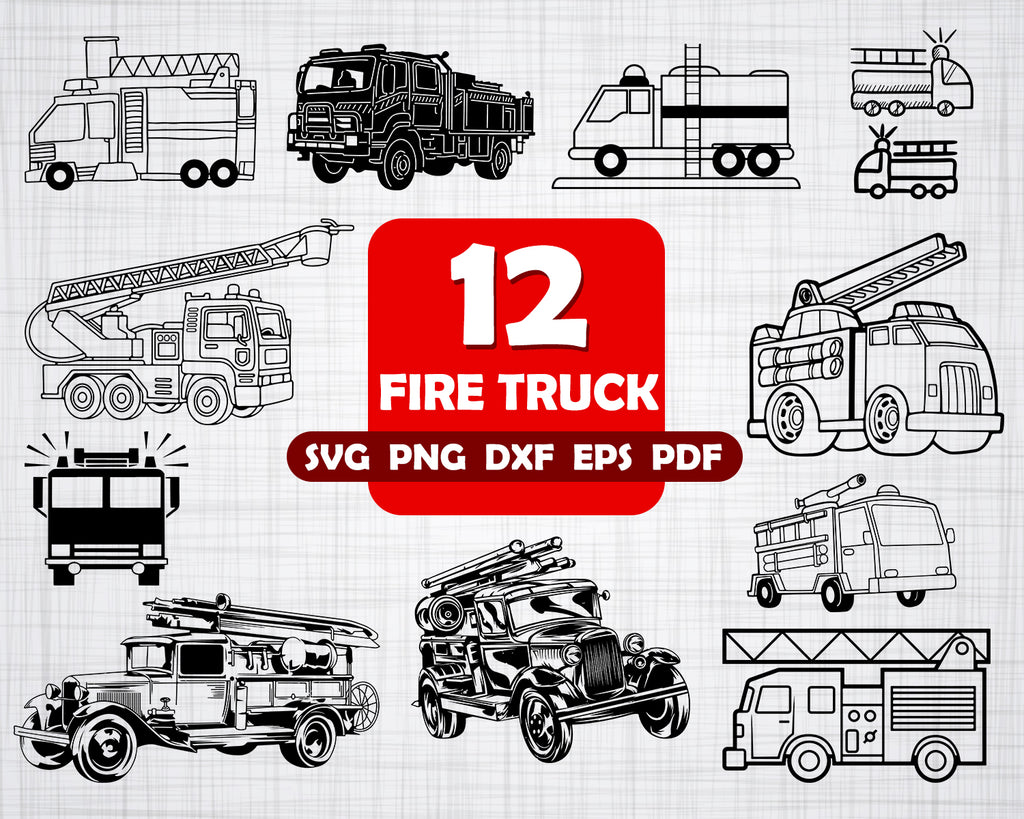 Fire Truck Svg Bundle Firetruck Svg Firetruck Clipart Cut Files For Clipartic