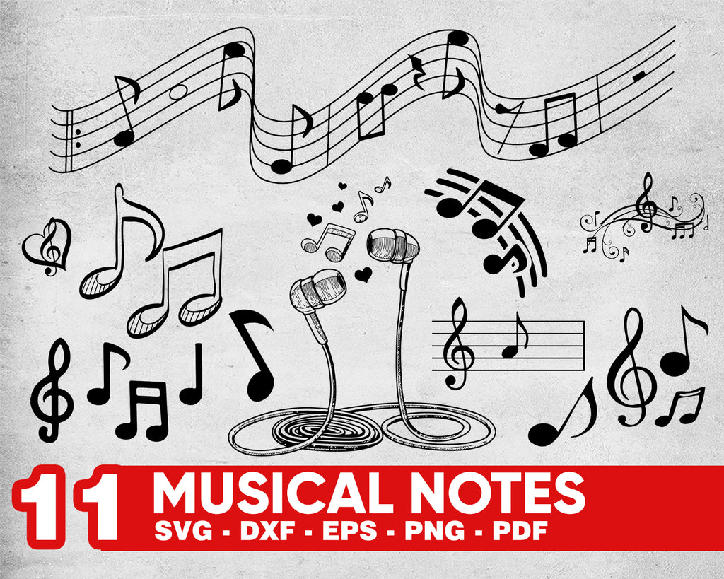 MUSICAL NOTES SVG, music svg, music clipart, music notes svg, music note svg, musical note svg, music silhouette, music silhouette,music dxf