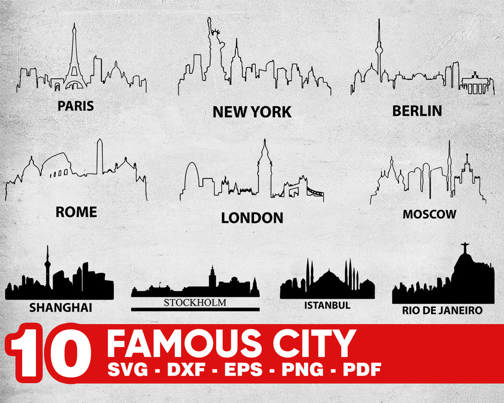 Famous city svg, US City Skyline SVG/ Skyline Svg/ US Cities Svg/ New York Svg/Clipart/ Silhouette/ Cricut/ Vector