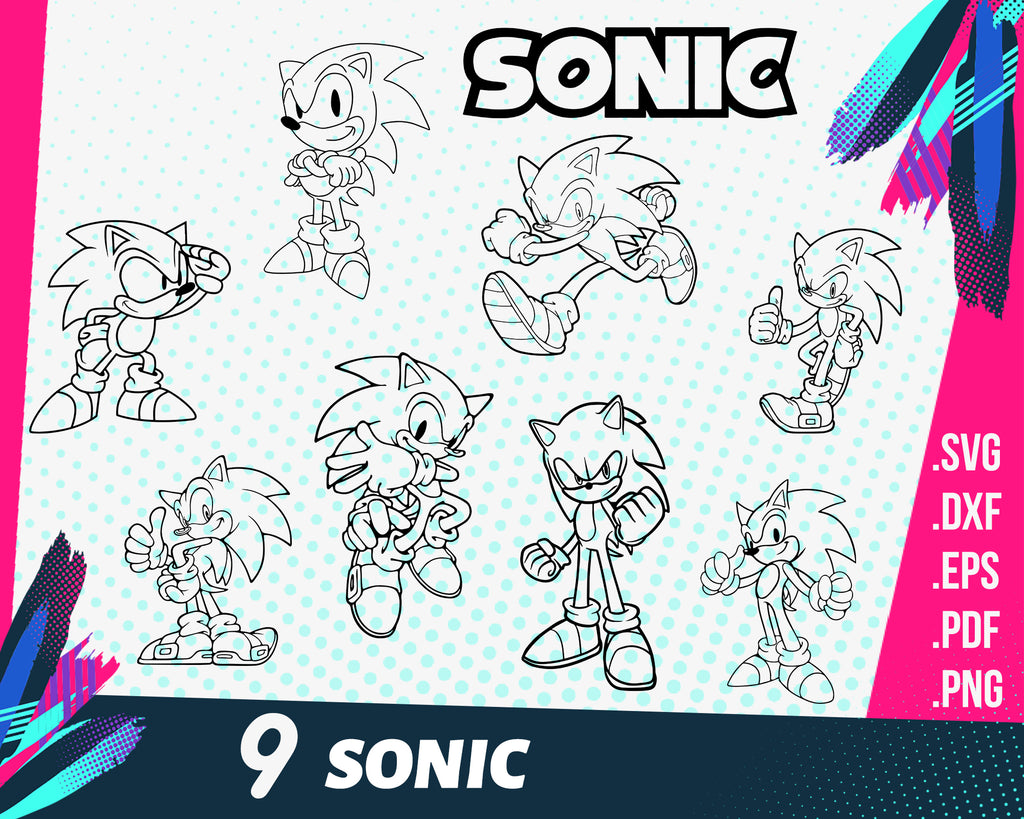 SONIC Svg Bundle, sonic the hedgehog SVG, sonic cut file, sonic clipart, sonic silhouette, sonic stencil, sonic cricut, sonic design