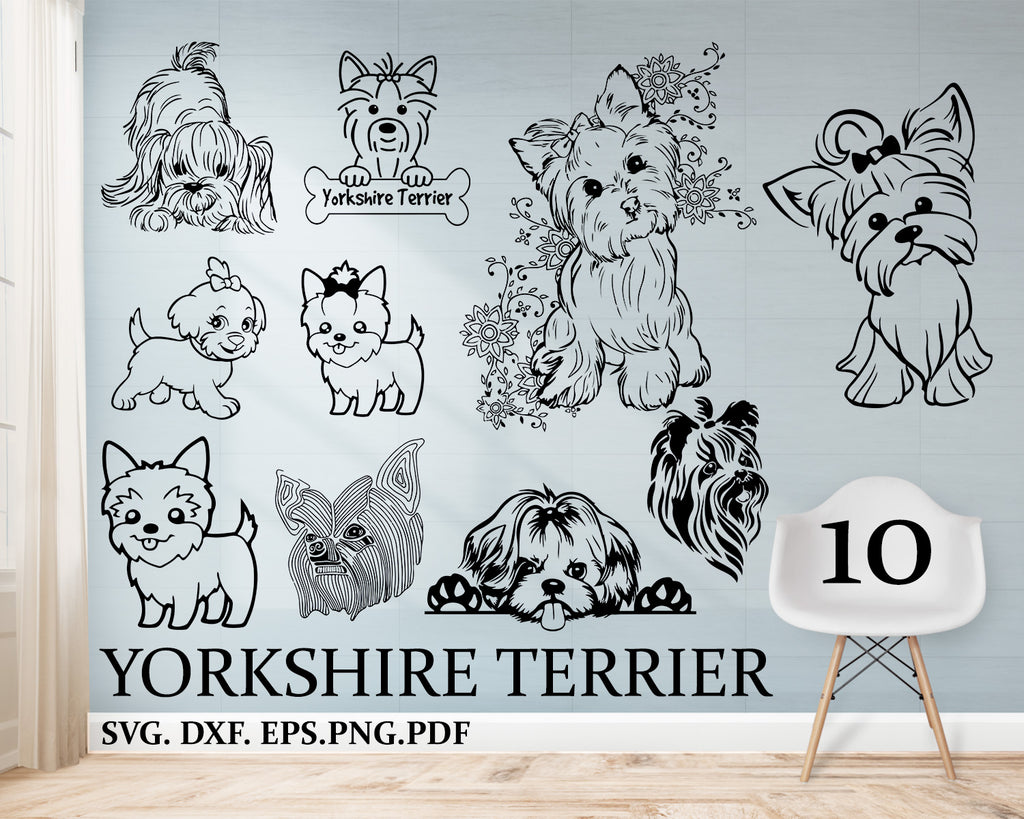 Yorkshire terrier svg, yorkie svg, dog svg, dog clipart, yorkshire svg file, dog svg, stencil, vinyl cut files, cricut files, svg files