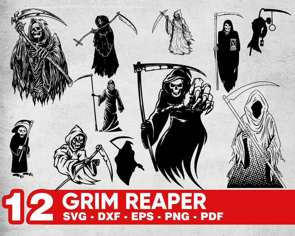 Grim Reaper Svg File - Skull Svg - Grim Reaper Decal - Halloween Svg - Death Svg - Skeleton Svg - Svg For Cricut - Svg For Silhouette - DXF