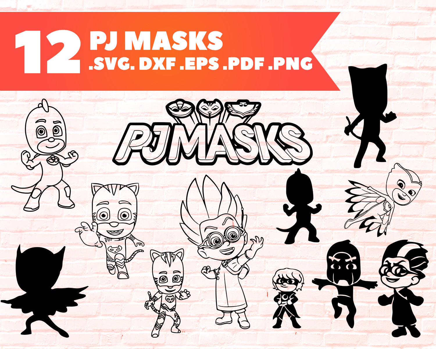 Pj Masks Svg Pj Masks Bundle Pj Masks Outline Gekko Outline Catboy Clipartic