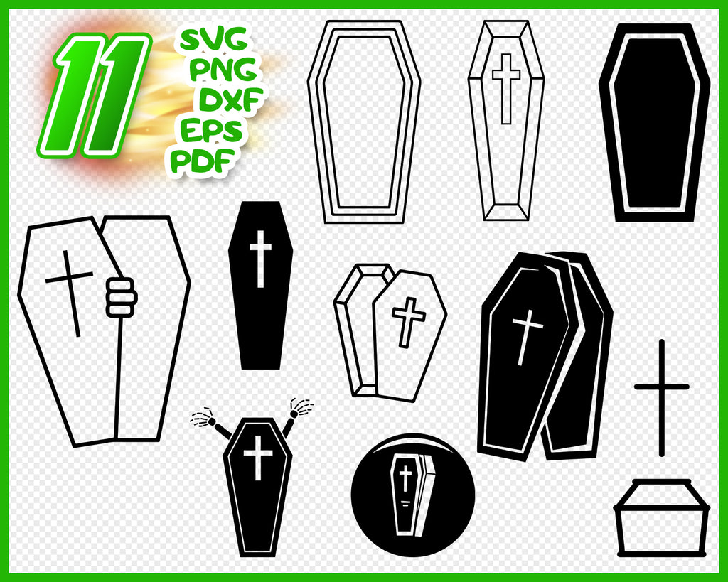 Coffin svg, halloween svg, coffin svg, tomb svg, cemetery svg, funeral svg, death svg, clipart, silhouette, decal, stencil, cut file, iron on