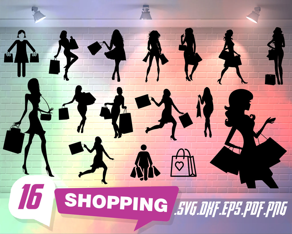 Shopping svg, Shopping svg,shopping cart svg,shopping woman svg,bag svg,Shopping Clipart,silhouette,cut file,stencil file,SVG,PNG,DXF