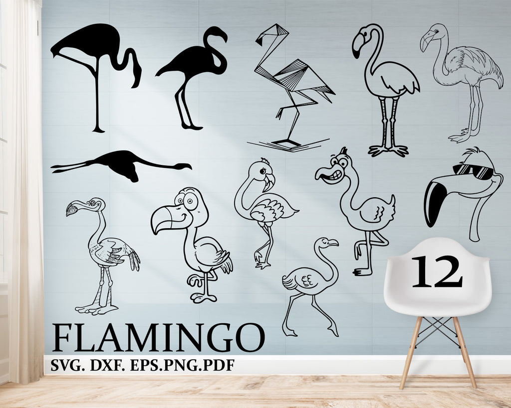 Flamingo SVG, Silhouette Cut File, SVG File for Cricut, Instant Download, Birthday SVG, Silhouette svg File, dxf Vector File, Paper Goods svg