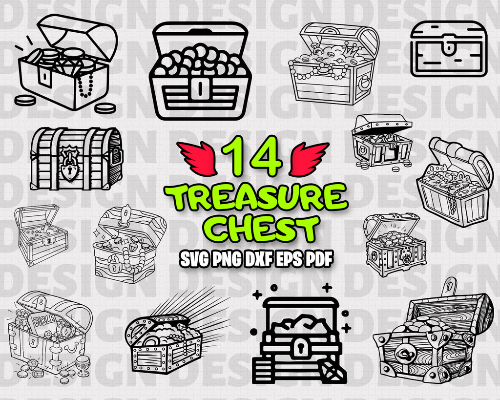 Treasure Chest SVG, Treasure Chest Bundle, Treasure Chest Vector, Treasure Chest Clipart, Cut Files For Silhouette, Files for Cricut, Vector, Svg, Png, Vinyl Design, Instant Download