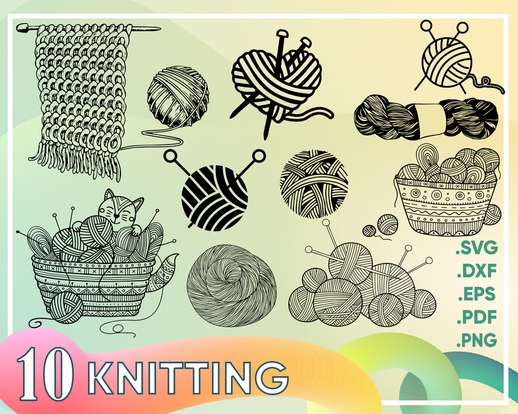 Knitting svg, knitting svg, knitting clipart, svg for vinyl decal, tote bag, pillow cover, wall decal, heat transfer vinyl, iron on vinyl, svg files
